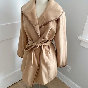 Dennis Basso Faux Wool Trench Faux Leather Detail